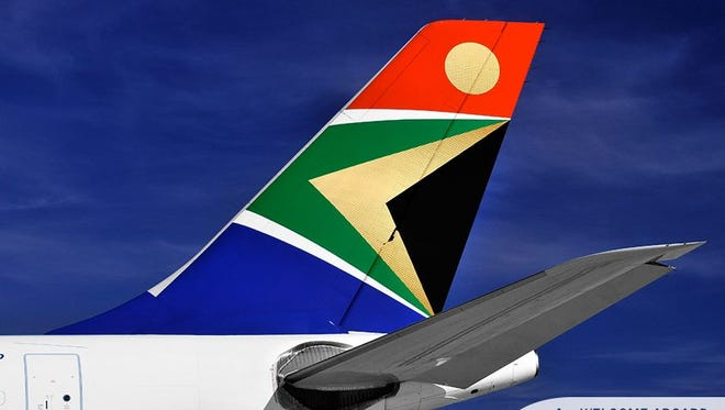 South African Airways logo is seen on the tail of one of its aircraft in this photo from the airline.