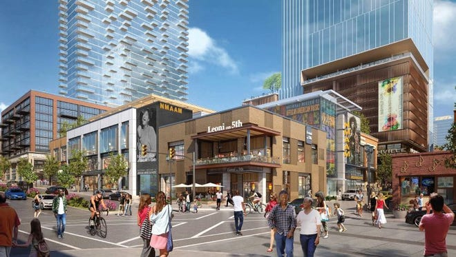A rendering of the Fifth + Broadway project showing the planned National Museum of African American Music.