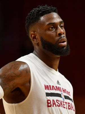 Miami Heat forward Willie Reed (35) looks on prior to the game against the Orlando Magic at American Airlines Arena.