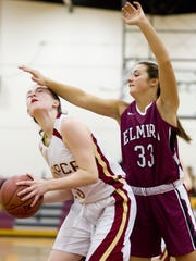 Forward Kayla Eells goes for a score in a game against