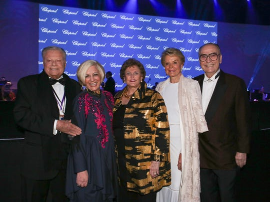 Chairman Harold Matzner, Helene Galen, JoAnn McGrath, Donna MacMillan, and Jim Houston pose at a Palm Springs International Film Festival Gala after collectively underwriting the event with a donation of more than $500,000.