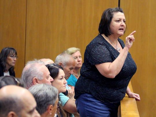 Allison Bindell, Toms River, speaks during the sentencing