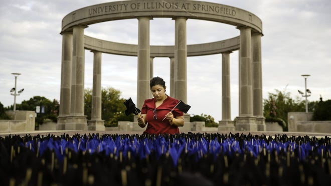 Vanesa Salinas a student member of the Illinois Innocence Project at UIS, places some of the nearly 2,500 flags representing innocent people who were wrongfully convicted on the Quad at the UIS Wednesday, Oct. 2, 2019. The blue flags in the center of the display represent 304 Illinois exonerees who have collectively lost a total of 2,802 years of their lives to false imprisonment.