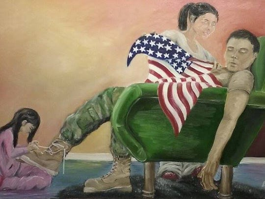"Agnes Bermudez Ansell won an honorable mention for ""Rest Easy Soldier, You're Home."""
