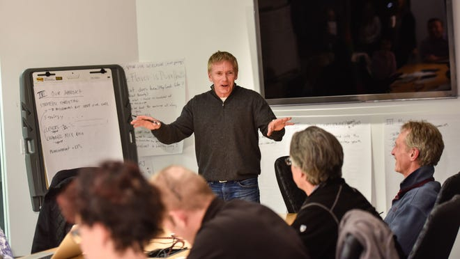 Vinnie Brand, owner of The Stress Factory Comedy Club in New Brunswick, talks about public speaking at The Sawtooth Group in Red Bank.