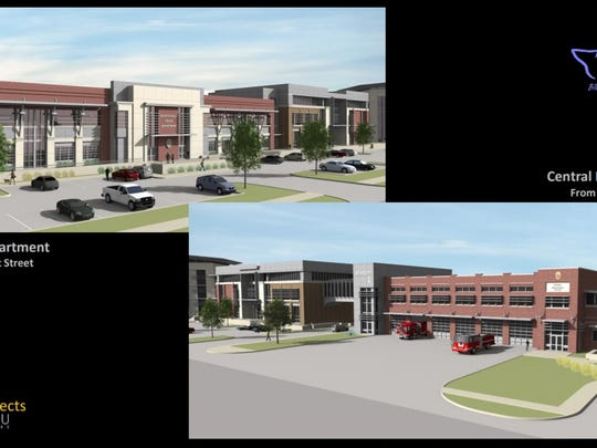 A rendering shows the police department and Central