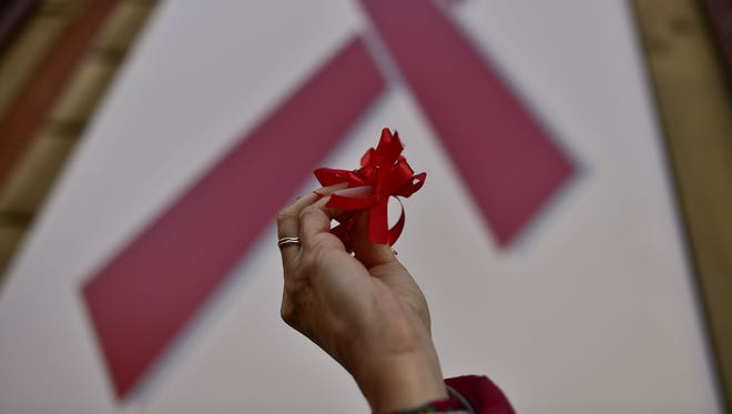 In Pamplona, Spain, on World AIDS Day 2016.