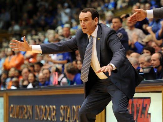 Duke Blue Devils head coach Mike Krzyzewski coaches