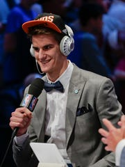 Dragan Bender answers questions during an interview after being selected fourth overall by the Phoenix Suns during the NBA basketball draft, Thursday, June 23, 2016, in New York. (AP Photo/Frank Franklin II) ORG XMIT: NYJJ124