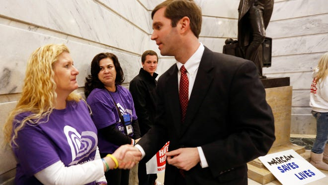 Andy Beshear, who is running for Kentucky attorney general, talks with Pennie Tackett.