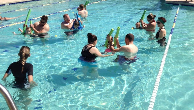 Swimming lessons are available for people of all ages.