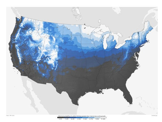 Historic probability of having at least one inch of