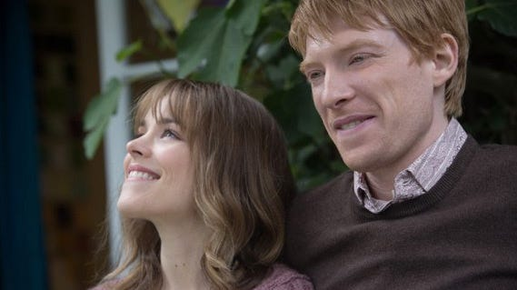Rachel McAdams, left, and Domhnall Gleeson star in the time-travel rom-com 'About Time.'