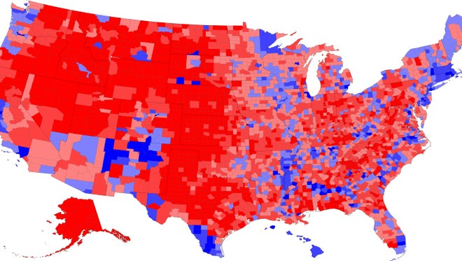 This map  by Mark Newman, Department of Physics and Center for the Study of Complex Systems, University of Michigan, shows how counties voted in the 2016 presidential election.