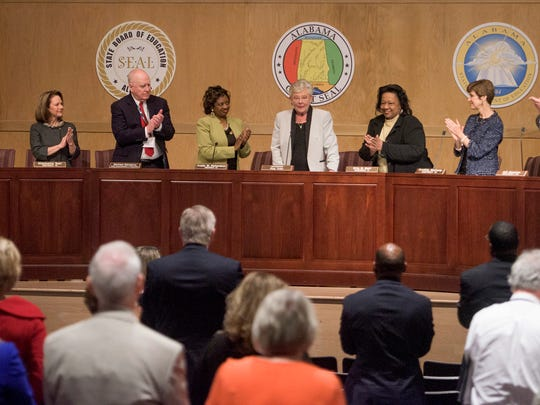Governor Kay Ivey gets a standing ovation from during the State Board of Education meeting in Montgomery, Ala., on Thursday April 13, 2017.