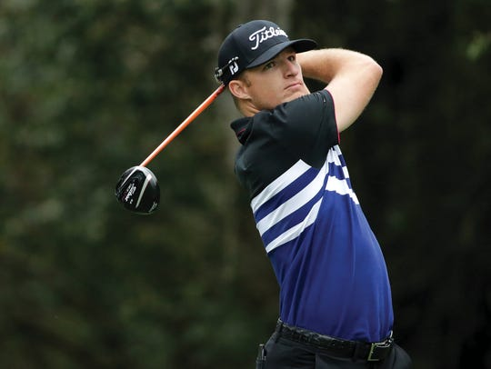 Morgan Hoffmann hits off the third tee during the second