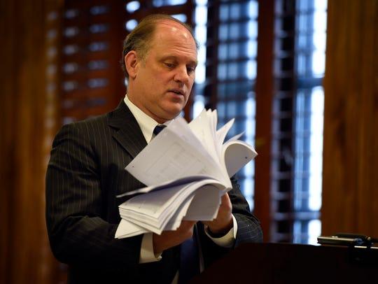 John Enkema, an attorney for Glenn Funk, presents his