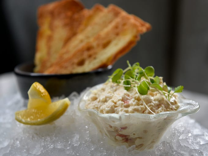 Crab Ravigote with house focaccia crisps at Marsh House.