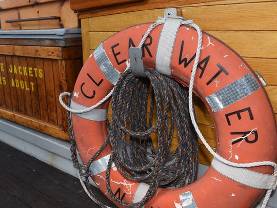 A life preserver on the sloop Clearwater, pictured