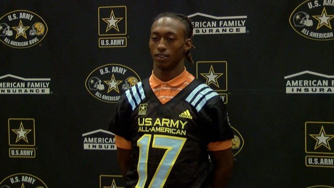 D.D. Bowie received his U.S. Army Bowl jersey.