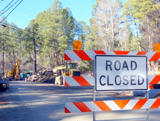 Road closed Main Road Upper Canyon