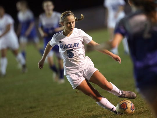 Maclay's Katelyn Dessi dribbles the ball down field against Rocky Bayou Christian in the Marauder's 2-1 District 1-1A championship win on Friday, Jan. 26, 2018.