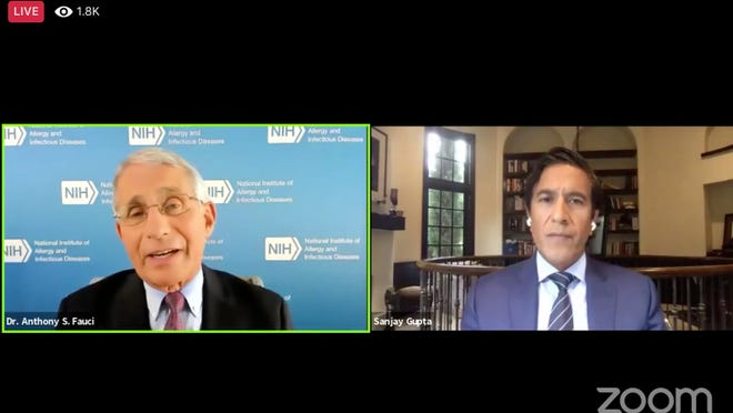 Dr. Anthony Fauci and CNN's Dr. Sanjay Gupta were part of a forum hosted by Harvard University's T.H. Chan School of Public Health, Wednesday, Aug. 5, 2020.