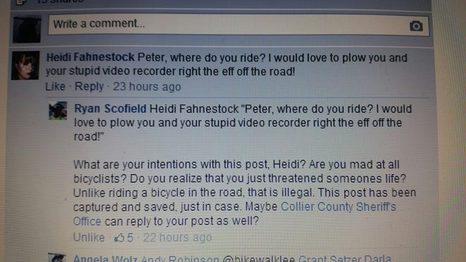 """A Facebook post threatening to """"plow over"""" a cyclist prompted a Collier County investigation."""