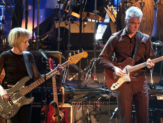 David Byrne and Tina Weymouth perform on March 18,