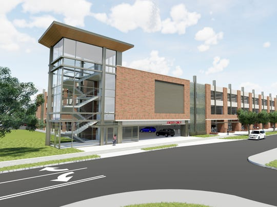 This drawing shows the north side of a new parking