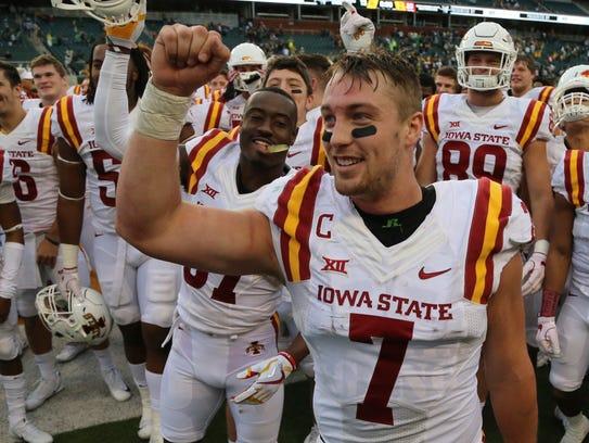 Iowa State quarterback Joel Lanning (7) celebrates