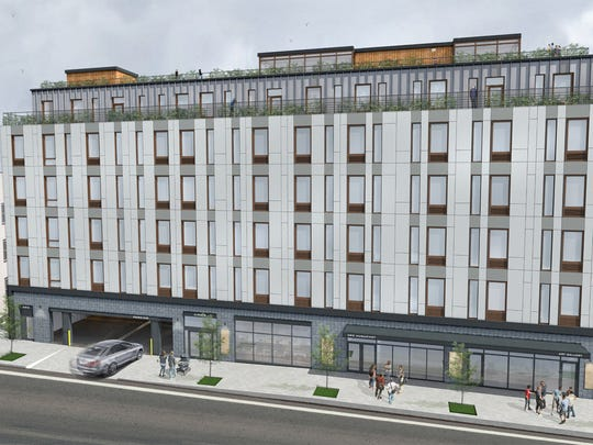 A rendering of the planned development at 387 Huguenot