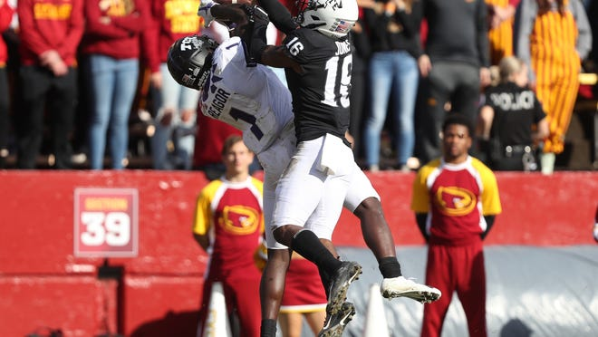 Oct 5, 2019; Ames, IA, USA; TCU Horned Frogs wide receiver Jalen Reagor (1) catches a touchdown pass against Iowa State Cyclones defensive back Keontae Jones (16) at Jack Trice Stadium. Mandatory Credit: Reese Strickland-USA TODAY Sports