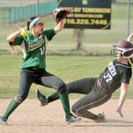 Veronica Pezzoni, shown trying to turn a double play last month, and her Howell teammates will play host to East Lansing today in a Division 1 predistrict game.