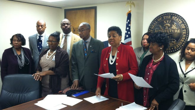 Brenda Gilmore, center, and members of the Tennessee Black Caucus of State Legislators, seen here in 2015, are advancing an agenda this year that includes an emphasis on criminal justice reform.