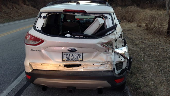 This is the damage to Holly Fesler's Ford Escape following a January hit-and-run crash in Warrington Township.