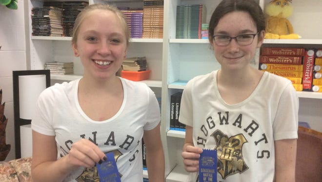 Ally Koss, left, and Shannon Powers represented D.C. Everest Middle School in the state Battle of the Books competition.