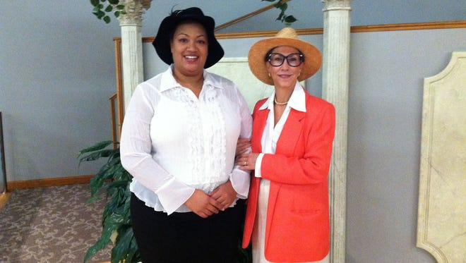 "Jossalynn Moukouanga (left) plays Zora Neale Hurston and Mary McLeod Bethune in the theatrical presentation ""Female Florida: Historic Women in Their Own Words."" Marion C. Marsh (right) portrays Marjory Stoneman Douglas and Caroline P. Rossetter."