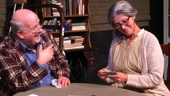 "Drew Brhel and Claire Morkin share a moment in ""The Gin Game."""