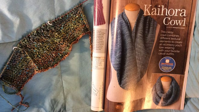 This is the Kaihora Cowl. On the left is my adaptation for Susan. On the right is the page in Creative Knitting magazine that shows two ways to wear it.