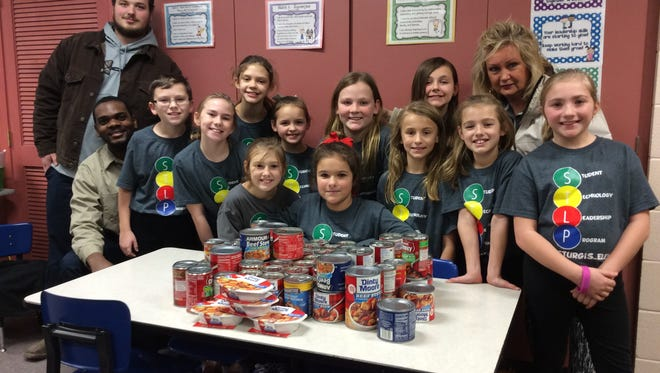 The Sturgis Elementary School STLP (Student Technology Leadership Program) donated 72 cans of beef stew to the Earl C Clements Job Corp Academy during a recent beef stew drive.