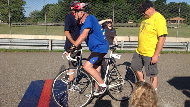 Clawson native Norm Flaga, 81, waits at the starting line of last year's Michigan Senior Olympics.