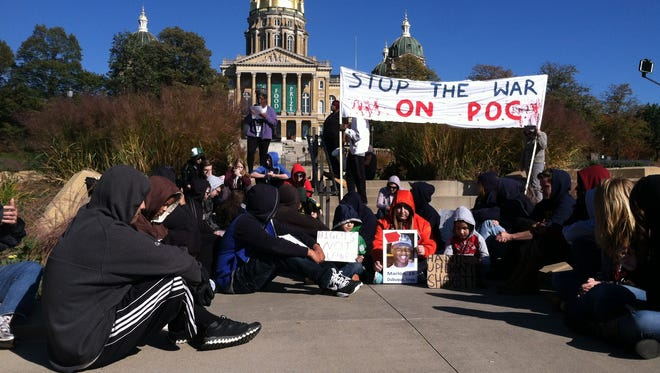 Protesters speak out against racial injustice in Des Moines.