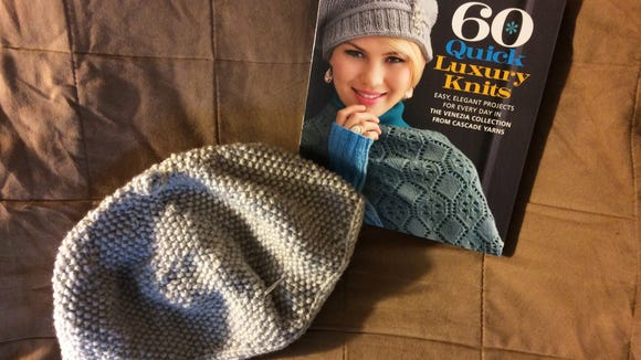 My Ann McCauley seed-stitch slouchy hat is a work in progress.