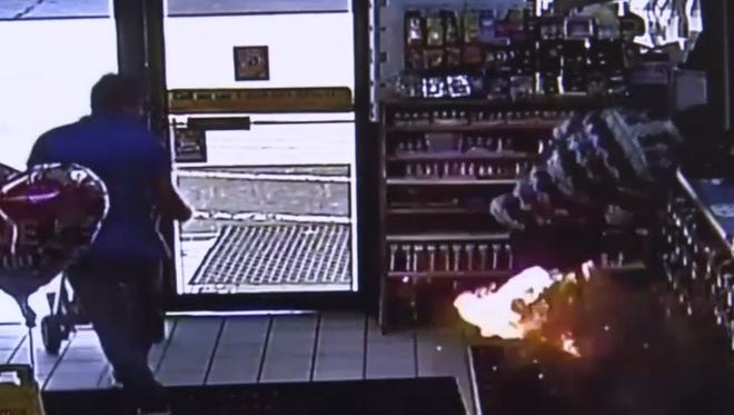 A Kentucky man was hospitalized on Saturday after an e-cigarette battery exploded in his pocket.