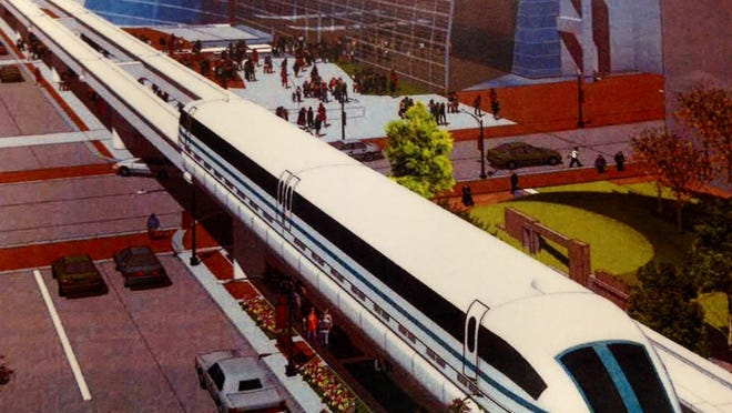 An artist's rendering of what the America Maglev Technology Inc. train might look like.