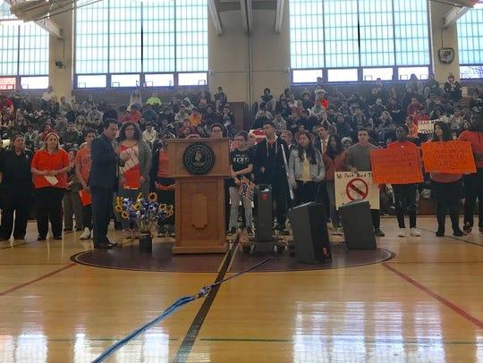 Seventeen people spoke at Lincoln High School in Yonkers