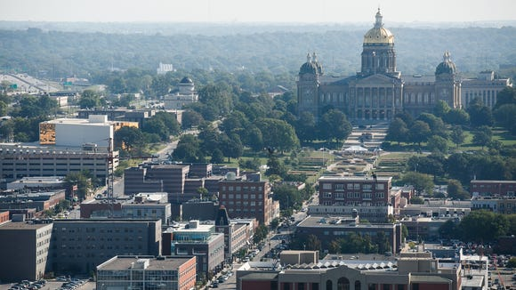 The Des Moines skyline including the Capitol Building is seen from the Financial Center on Wednesday, Sept. 16, 2015.