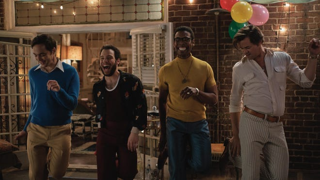 """Jim Parsons as Michael, Robin De Jesus as Emory, Michael Benjamin Washington as Bernard and Andrew Rannells as Larry in """"The Boys in the Band."""""""