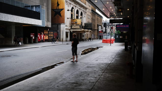 Closed Broadway theaters are shown on June 30, 2020, in New York City.
